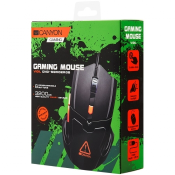 Optical Gaming Mouse with 6 programmable buttons, Pixart optical sensor, 4 levels of DPI and up to 3200, 3 million times key life, 1.65m PVC USB cable,rubber coating surface and colorful RGB lights, size:125*75*38mm, 140g CND-SGM02RGB-CND-SGM02RGB