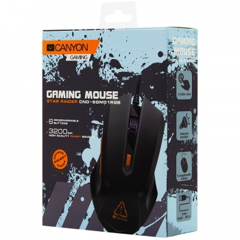 Optical Gaming Mouse with 6 programmable buttons, Pixart optical sensor, 4 levels of DPI and up to 3200, 3 million times key life, 1.65m PVC USB cable,rubber coating surface and colorful RGB lights, size:125*75*38mm, 115g CND-SGM01RGB-CND-SGM01RGB