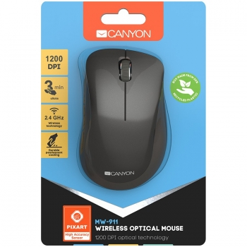 Canyon  2.4 GHz  Wireless mouse ,with 3 buttons, DPI 1200, Battery:AAA*2pcs,Dark Gray ,67*109*38mm,0.063kg CNS-CMSW911DG-CNS-CMSW911DG