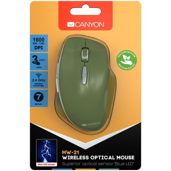 Canyon  2.4 GHz  Wireless mouse ,with 7 buttons, DPI 800/1200/1600, Battery:AAA*2pcs  ,special military72*117*41mm 0.075kg CNS-CMSW21SM-CNS-CMSW21SM
