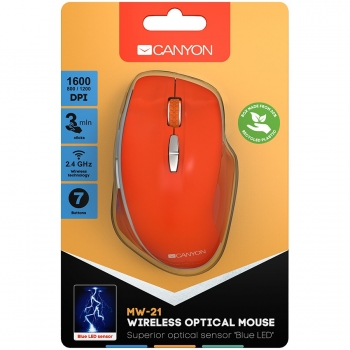 Canyon  2.4 GHz  Wireless mouse ,with 7 buttons, DPI 800/1200/1600, Battery:AAA*2pcs  ,Red 72*117*41mm 0.075kg CNS-CMSW21R-CNS-CMSW21R