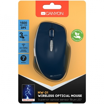 Canyon  2.4 GHz  Wireless mouse ,with 7 buttons, DPI 800/1200/1600, Battery: AAA*2pcs,Blue,72*117*41mm, 0.075kg CNS-CMSW21BL-CNS-CMSW21BL