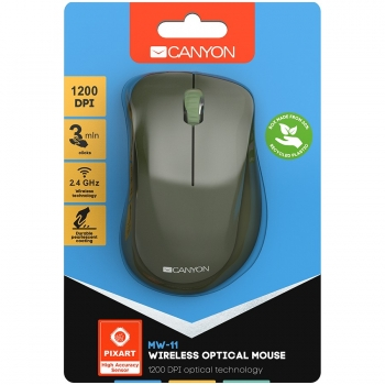 Canyon  2.4 GHz  Wireless mouse ,with 3 buttons, DPI 1200, Battery:AAA*2pcs  ,special military67*109*38mm 0.063kg CNE-CMSW11SM-CNE-CMSW11SM