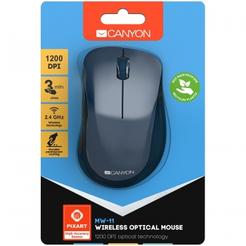 Canyon  2.4 GHz  Wireless mouse ,with 3 buttons, DPI 1200, Battery:AAA*2pcs  ,Blue67*109*38mm 0.063kg CNE-CMSW11BL-CNE-CMSW11BL