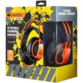 CANYON Gaming headset 3.5mm jack plus USB connector for vibration function, light control button, adjustable microphone and volume control, with 2in1 3.5mm adapter, cable 2M, Black, 0.44kg CND-SGHS5A-CND-SGHS5A