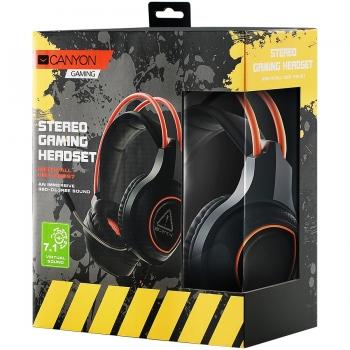 Canyon Gaming headset with 7.1 USB connector, adjustable volume control, orange LED backlight, cable length 2m, Black, 182*90*231mm, 0.336kg CND-SGHS7-CND-SGHS7