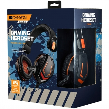 CANYON Gaming headset 3.5mm jack with microphone and volume control, with 2in1 3.5mm adapter, cable 2M, Black, 0.36kg CND-SGHS3A-CND-SGHS3A