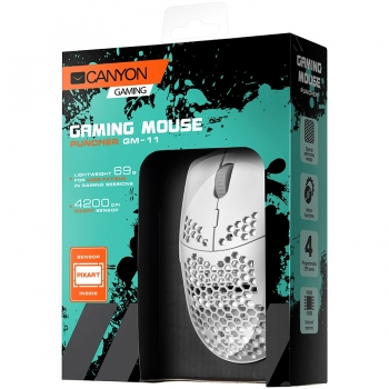 CANYON,Gaming Mouse with 7 programmable buttons, Pixart 3519 optical sensor, 4 levels of DPI and up to 4200, 5 million times key life, 1.65m Ultraweave cable, UPE feet and colorful RGB lights, White, size:128.5x67x37.5mm, 105g CND-SGM11W-CND-SGM11W