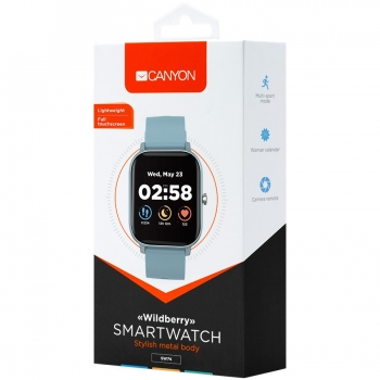 CANYON Wildberry SW-74 Smart watch, 1.3inches TFT full touch screen, Zinc plastic body, IP67 waterproof, multi-sport mode, compatibility with iOS and android, blue body with blue silicon belt, Host: 43*37*9mm, Strap: 230x20mm, 45g