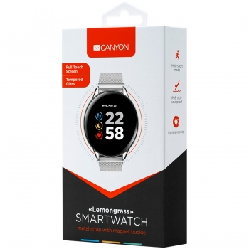 Smart watch, 1.3inches IPS full touch screen, Zinc plastic body,IP68 waterproof, multi-sport mode with swimming mode, compatibility with iOS and android,Silver body with silver metal  belt, Host: 44.5x11.6mm, Strap: 240x20mm, 53g